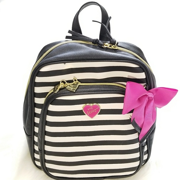de3ad88f398 Betsey Johnson Handbags - Betsey Johnson Black and White Striped Backpack